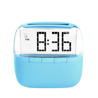New Solar Alarm Clock Electronic Clock DIY Crystal Screen Personality Clocks Free Shipping