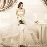 2013 tube top lace wedding dress quality train wedding dress ff01058