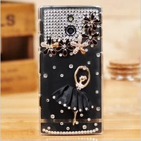 2pcs Blingbling Diamond Shiny Luxury Rhinestone Case for SONY LT22I Mobile Phone Protective Shell Free shipping
