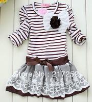 Retail Girl's stripe dress Free shipping 2013 girls princess dress coffee stripe  flower top Tutu lace skirt