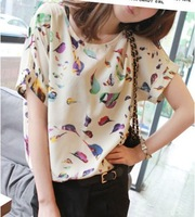 2013 Free Shipping Hot Sale summer New Women colorful Chiffon T shirt Loose Blouse Tee Tops