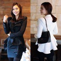 2014 new autumn -summer Fashion WomenWomen White Black Casual Suit One Button Blazer Jacket SwallowTail Style  HOT