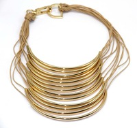 Brand Female Gold Plated Copper Tube Charm Vintage Necklaces Statement Jewelry Handmade Layered Wax Cord Chokers Necklaces