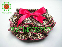 Hot! 3pcs/lot new arrival satin leopard pattern with bows baby clothing training pants girls shorts
