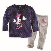 free shipping  Retail  2-7 years baby 100% cotton baby clothing kids pajama sets girl's fashion design