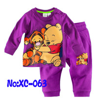 free shipping  Retail  2-7 years baby 100% cotton baby clothing kids pajama sets sports suit