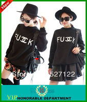 Hot Sale 2013 Women Fashion Pullovers Fuck C Letter Print Polyester fabric cotton mixed Sweater Tops sweatshirt Size S-L