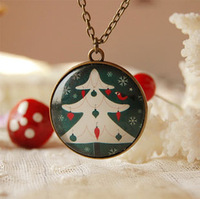 Wholesale New Arrival Christmas Tree Pendant Necklace Long Necklaces Handmade Christmas Gift 6pcs/lot XL047