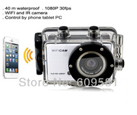 Copy style Go Pro hero 3 Sport Camera With WIFI G5500 Support Control By Phone Tablet PC 1080P Full HD 40 meters waterproof