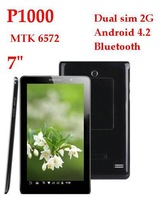 HOT ! 7'' P1000 2G Phone call GSM dual SIM card MTK 6572 512MB DDR3 A8 Android 4.2 Bluetooth FM tablet pc