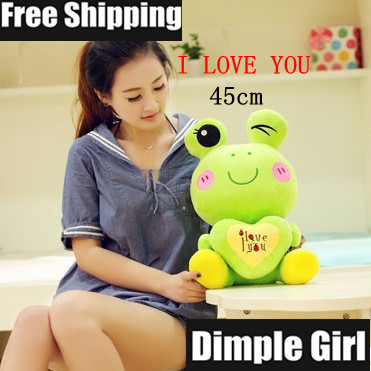 Free Shipping 45cm with letter I LOVE YOU doll kawaii cute green frog plush toy for girl birthday gift VALENTINE's day novelty(China (Mainland))