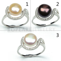 Topearl Jewelry Clear CZ Bread 9-9.5mm Freshwater Pearl 925 Sterling Silver Rings SFR123