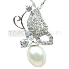 Topearl Jewlery Tear-drop 9*10mm White Pearl Cubic Zirconia 925 Silver Butterfly Pendant SPJ28