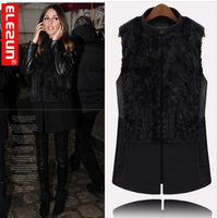 2013 fashion plus sizeS-6XL star style fur rabbit fur patchwork medium-long woolen stand collar vest 236