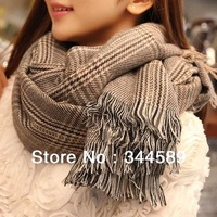 9077 Min order $10 (mix order) free shipping long Acrylic soft Thicken plaid winter warm Acrylic shawl scarf scave for women