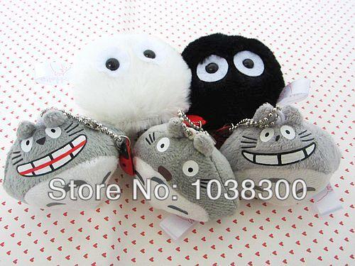 Free Shipping 50/Lot My Neighbor Totoro Spirits DUST White & Black Totoro Keychain Plush Doll Toy Wholesale PT1083(China (Mainland))