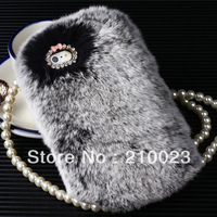 Luxury Warm rabbit hair fur Case Back Cover For Apple iPhone 5 5G 5S 5C 4 4G 4S + 1 dust plug 2013 new Christmas gift