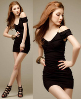 Party women's fashion sexy clothes sexy one-piece dress slim hip black short-sleeve dress