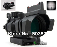 4x32 RGB Reticle Tri-Illuminated Compact Scope+Red Fiber Optics Sight Etched Glass Tactical New Quality Riflescopes