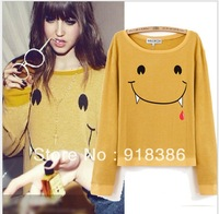 2013 Brand New Womens wildfox Vampire Smile face  print Fashion O-neck  hoodies / sweatshirts / hoody for women  Freeshipping