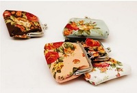 Free shipping women casual floral cotton fabric Big rose Anna Coin Purses