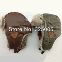 Newest boys' PU leather caps boys earflaps hat children thickening windproof warm bomber hats