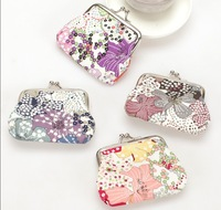 Free shipping Women Casual Floral Hasp Cotton Fabric Coin Purses