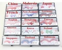 High Quality 10 pairs different national flag false eyelashes makeup fake eye lash Wholesale