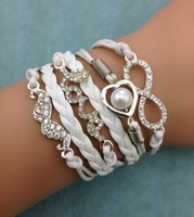 3pcs infinity bracelet, heart shaped pearls bracelet,wedding bracelet love bracelet,mustache  leather 3042 mini order 10$