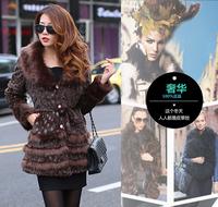 Fur coat medium-long sweep slim women's fur overcoat female coat