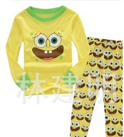 Clothing children's latest yellow cotton pajamas in household to take    6sets/lot Free shipping