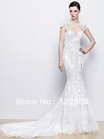 2014 Sexy Charming Mermaid Scoop Short Sleeves Lace Beading Brush Train Plus Size Luxury Wedding Dresses China Free Shipping