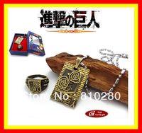 Shingeki no Kyojin Attack on Titan Necklace ring Set Cosplay Scouting Legion Pendant New Gift 04