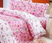 100% Cotton  Pink comforter bedding sets hello kitty princess full queen king size korean bedding set / bed sheet