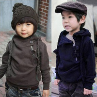 Winter male child plus velvet hooded thickening hooded sweatshirt outerwear thermal pullover