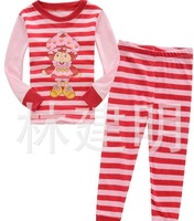 Children clothing pajamas red stripe mushroom child design cotton household to take  6sets/lot Free shipping