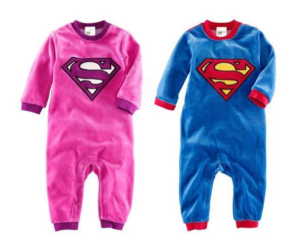 Baby Romper Superman velout thicken Long Sleeve Cartoon Halloween Christmas Costume Gift Children Kids Autumn winter