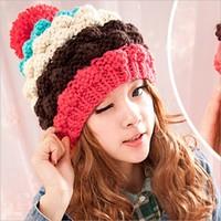 New 2013 Winter Cap Women Warm Woolen Knitted Fashion Hat For Gilrs Nice Striped Design Beanie Cap Woman Fur Cap Accessories