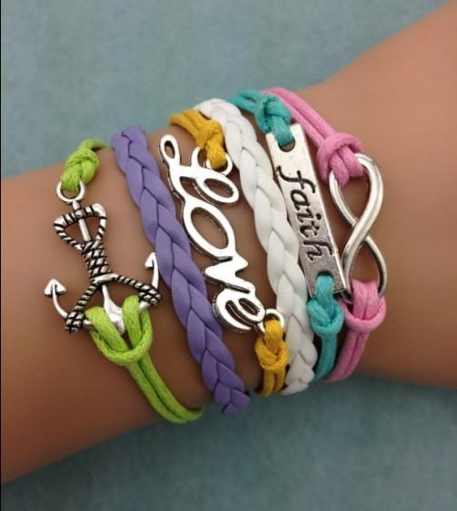 3pcs infinity bracelet,handmade bracelet,faith and love braclet,pearl bracelet,anchor charm bracelet,gift 3086 mini order 10$(China (Mainland))