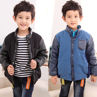 Winter baby boy child stand collar patchwork PU thickening cotton-padded coat casual thermal wadded jacket