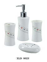 Beautiful 4 Pieces Ceramic Bathroom Accessories Set Vanity Dispenser WL23