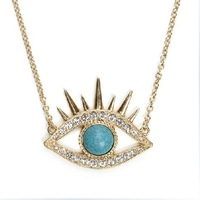 New  Free Shipping Wholesale 20Pcs/lot  3.8*3cm Turquoise Evil Eye Bead Hamsa Hand of God Fatima Charm Pendant Necklace