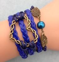 3pcs infinity bracelet,harry potter charm bracelet,handmade bracelet,owl and pearl bracelet,heart  charm  3106 mini order 10$
