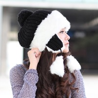 Winter hat women's knitted hat ear hat thickening warm cute popular millinery