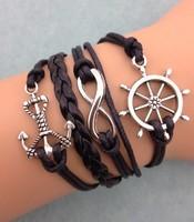 3pcs infinity bracelet,handmade bracelet,rudder and anchor charm bracelet,gift for friend,charm bracelet 3078mini order 10$
