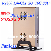 Wholesale Fanless small computer 2G RAM 16G SSD with intel dual core N2800 1.86Ghz full alluminum small chassis windows or linux