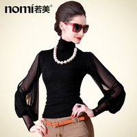 New 2013 t-shirt turtleneck long-sleeve basic lantern sleeve shirt rhinestones beading shirt 16867