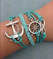 3pcs infinity bracelet,handmade bracelet,rudder and anchor charm bracelet,gift for friend,charm bracelet 3075  mini order 10$