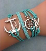 3pcs infinity bracelet,handmade bracelet,rudder and anchor charm bracelet,gift for friend,charm bracelet 3075  mini order 10$