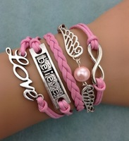 3pcs infinity bracelet,harry potter bracelet love believe3094  mini order 10$